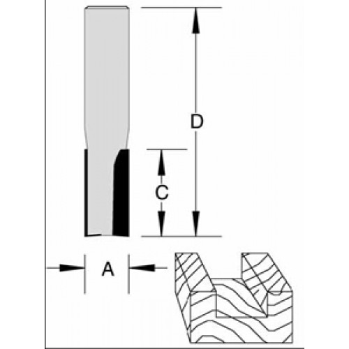 "Plunge Bit CNC 2 Flute 1/4"" x 7/16"" x 1/4"" Shank O/A 2"""