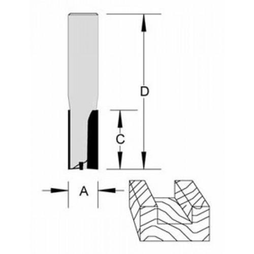 "Plunge Bit Flat Bottom 2 Flute 1/2"" x 1-1/4"" x 1/2"" Shank O/A 2-7/8"""