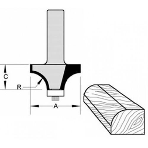 """Rounding Over Bit with BB Guide 1/8"""" Radius 3/8"""" Cut Length  1/4"""" Shank"""