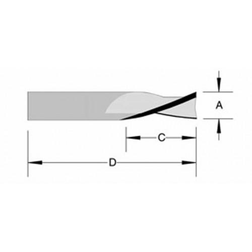 "Solid Carbide Spiral Shear Face Up Cut 1/8"" x 1/2"" x 1/8"" Shank O/A 1-1/2"""