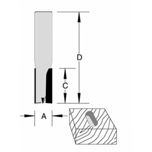 "Plunge Bit Spade Front 2 Flute 1/2"" x 1-1/4"" x 1/2"" Shank O/A 2-3/4"""