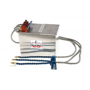 """3 Gallon Stainless Steel Tank with 18"""" Flexline Nozzle 48"""" Metal Braided Coolant Line and three outlets."""