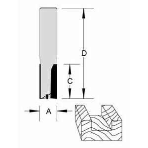 "Plunge Bit Flat Bottom 2 Flute 1/2"" x 1-1/4"" x 1/2"" Shank O/A 2-3/4"""