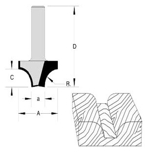 "Plunge Cut Rounding Over Bit 5/8"" Radius 1"" Cut Length  1/2"" Shank"