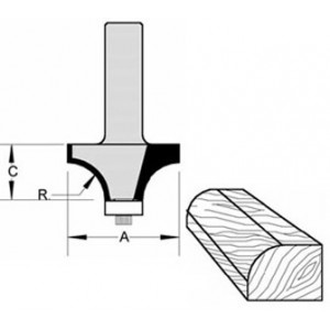 """Rounding Over Bit with BB Guide 1-1/8"""" Radius 1-3/8"""" Cut Length  1/2"""" Shank"""
