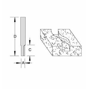 "Solid Carbide Straight Flute 2 Flute 1/4"" x 3/4"" x 1/4"" Shank O/A 2-1/2"""