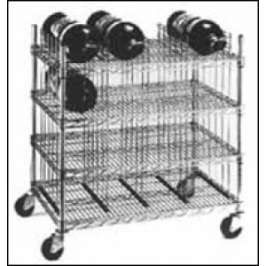 SCBA Mobile Bottle Cart Four shelf levels, holds sixteen bottles