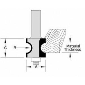 """Bull Nose Radius Bit w/ Bearing  For  3/8"""" Material"""