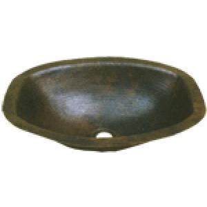 """Oval Hammered Flat Sides 17"""" Sink Bowl"""