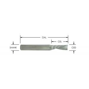 "O Flute Downcut Spiral, 1 Flute (Hard Plastic) 1/8"" CD X 1/2"" CL X 2"" 1/4"" Shank"